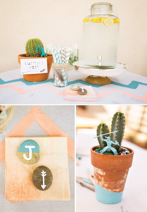 chevron watering hole and cactus centerpiece