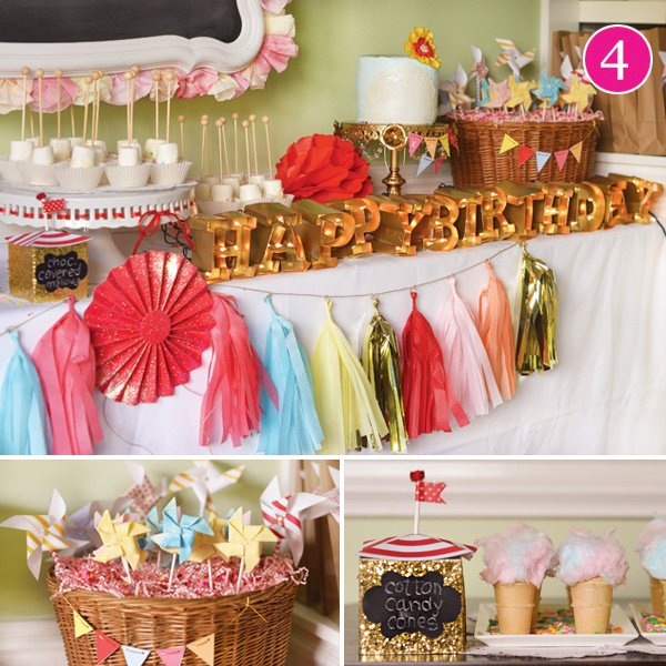 vintage carnival and confetti teen girl's birthday party