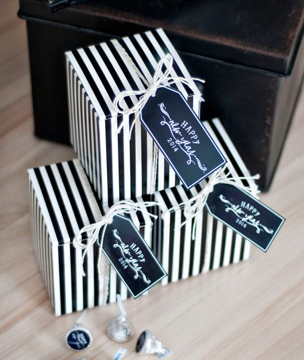 black and white striped box party favors