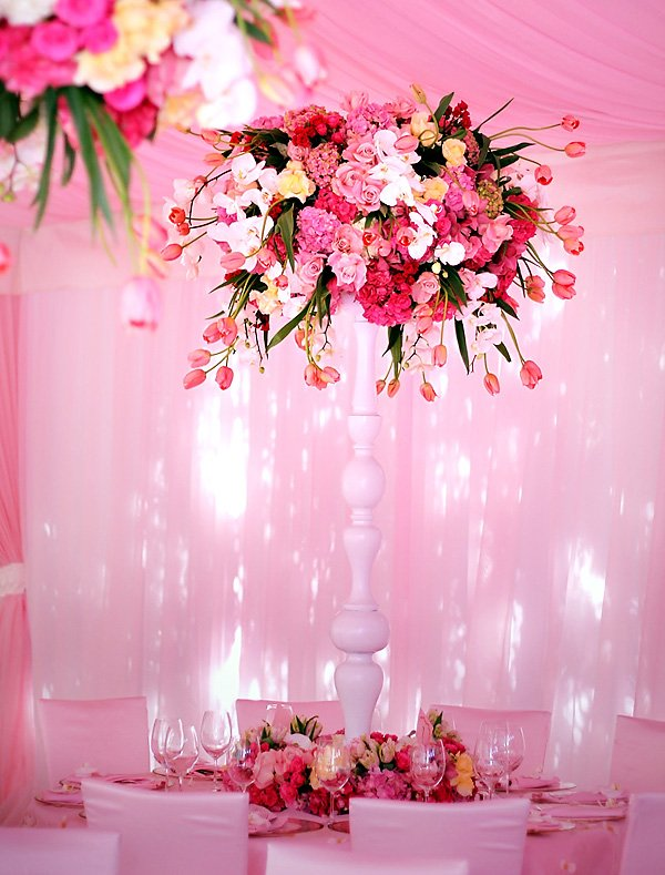 amazing, tall, towering pink and white flower arrangement centerpiece