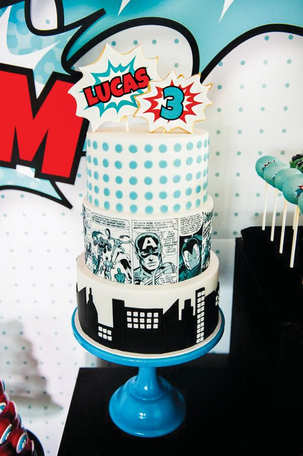 comic book superhero, skyline and pop art cake