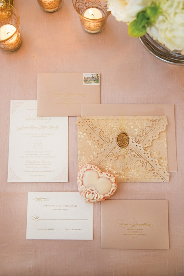 table shot of the lace wedding invitation