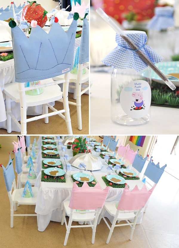 peppa pig kids table and crown chair backs