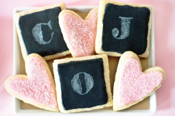 chalkboard and heart cookies for valentine's day or a wedding