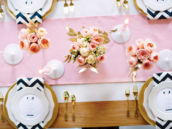 a nautical pink and blue wedding tablescape