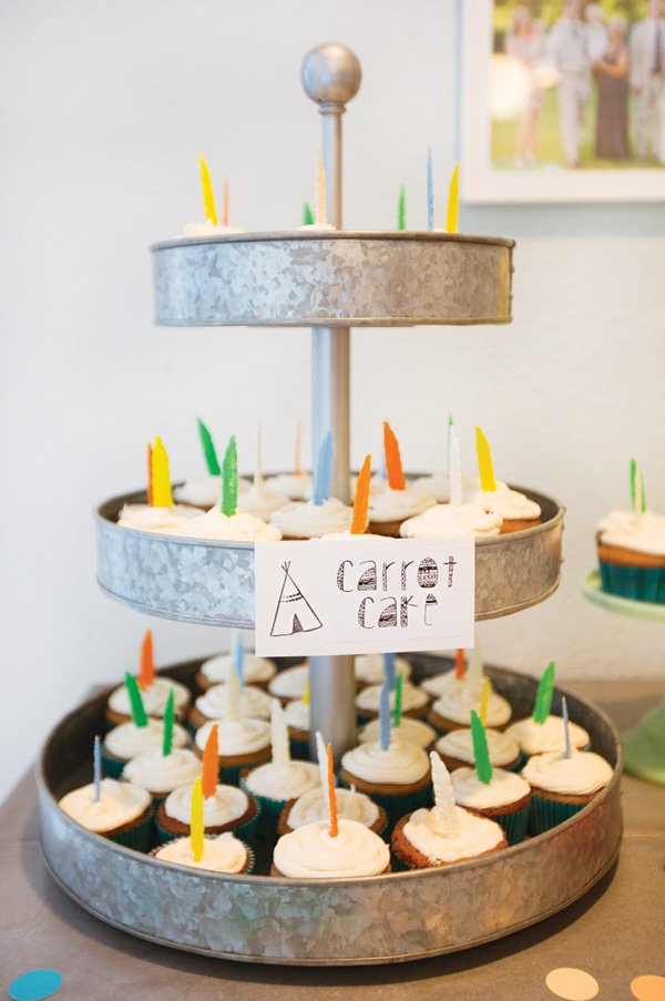 carrot cake cupcakes with feather toppers