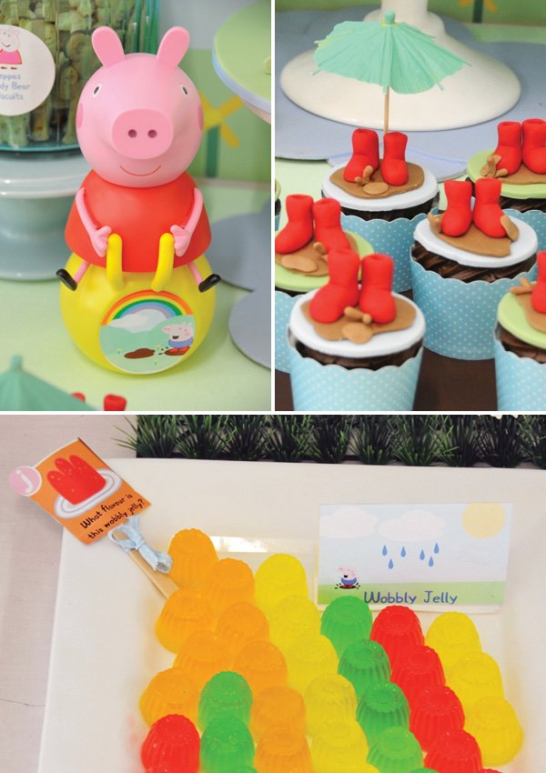 peppa pig rain boot cupcakes and wobbly jellos