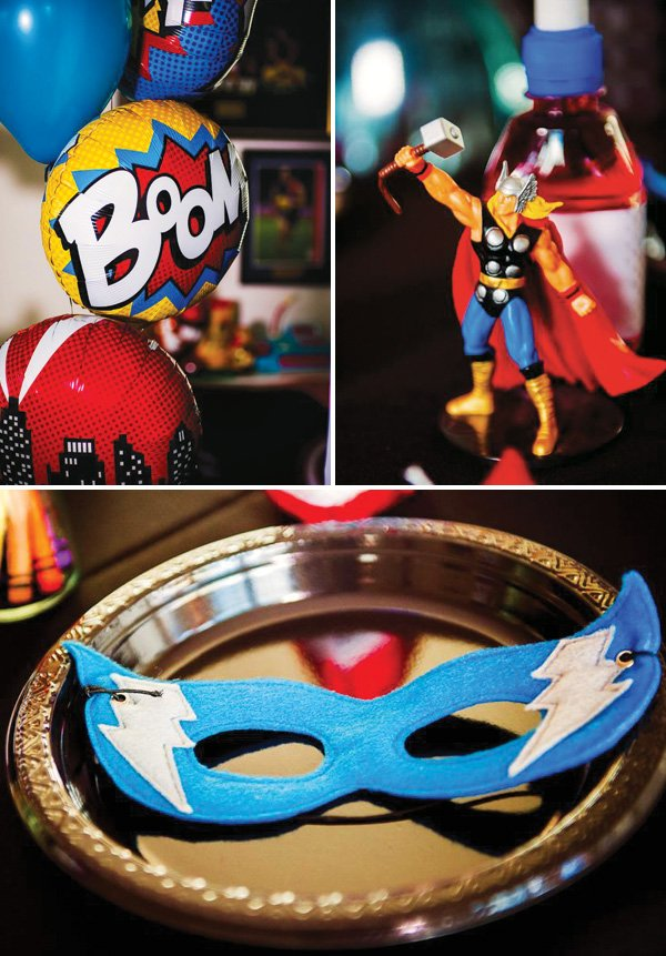 superhero felt masks, balloons, thor and other birthday party devcor