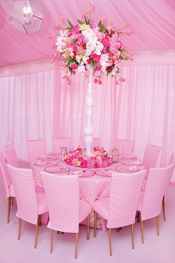light pink tablescape for a girl's baby shower