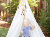 birthday party tee pee and blanket