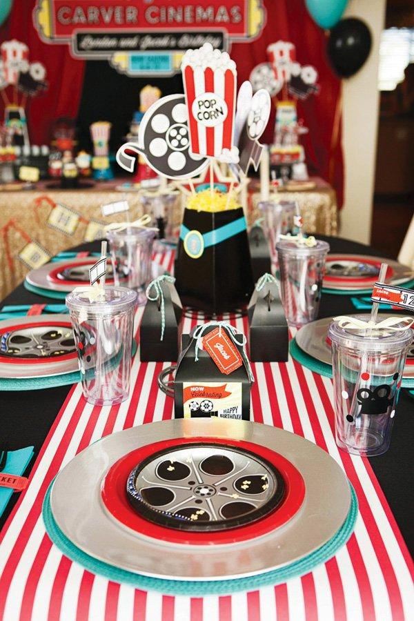movie birthday party kids table