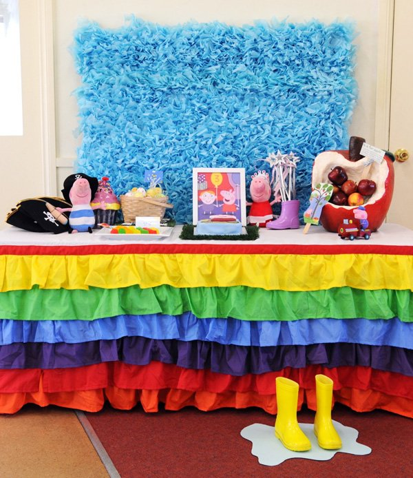 rainbow ruffle table skirt for a kids birthday party