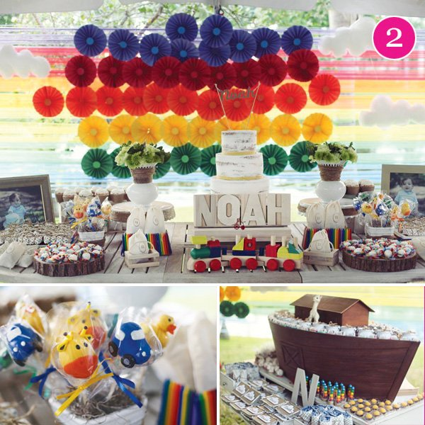 rainbow vintage noahs ark first birthday