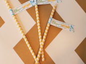 baby shower straw flags - blue yellow green