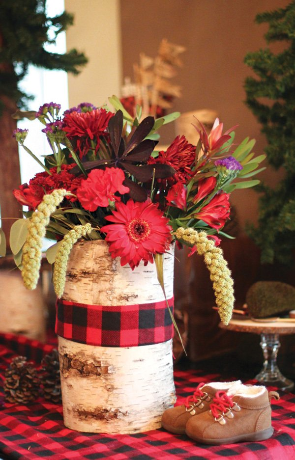 flannela and birch bark wrapped floral arrangement