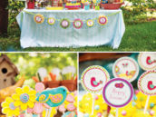 hanging birdhouse party decor and dessert table