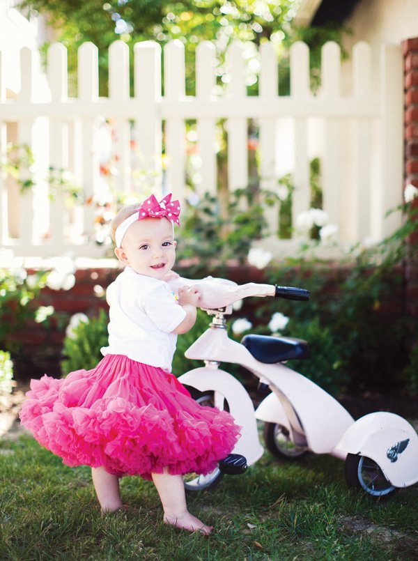 birthday girl's petty skirt and baby tricycle