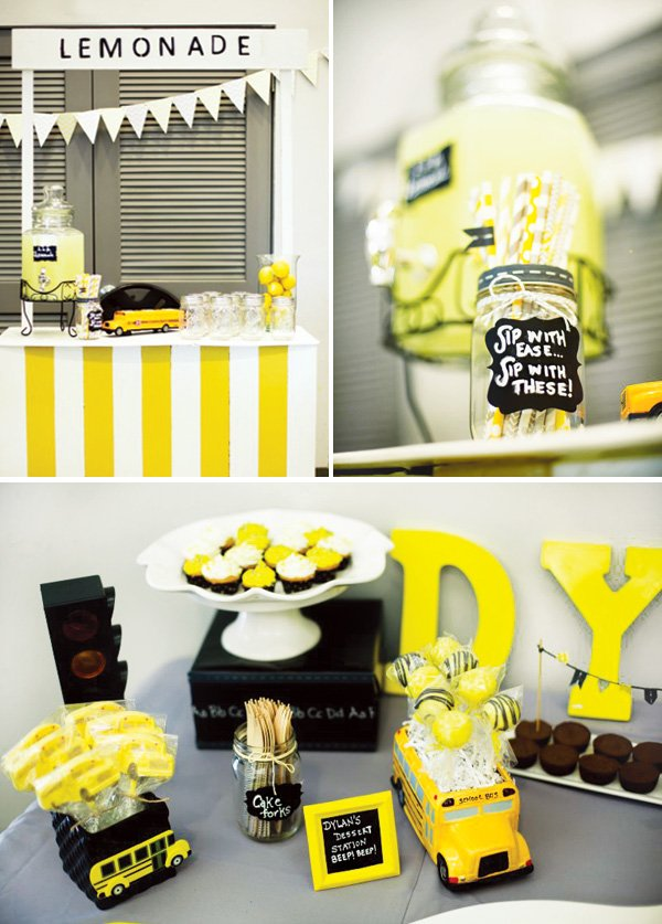 birthday aprty yellow decor and lemonade stand