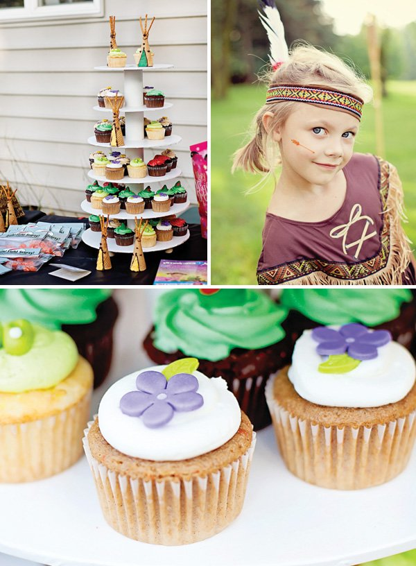 tiger lily costume and flower cupcakes