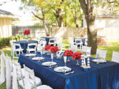 blue and silver outdoor tablescape