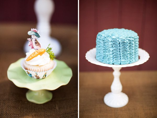 blue ruffle cake and carrot topped cupcake