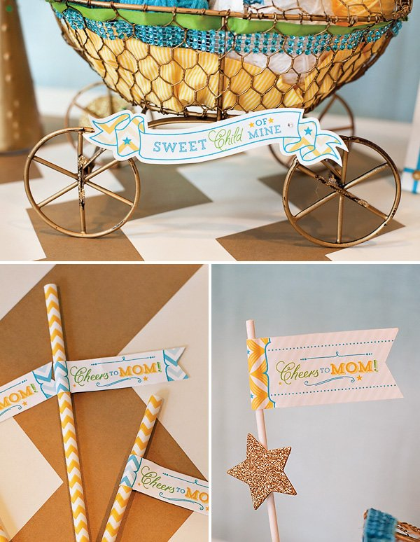 blue and yellow baby shower - paper decor details