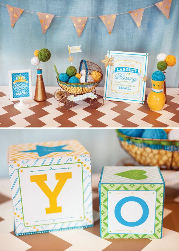 blue yellow gold baby shower ideas with chevron
