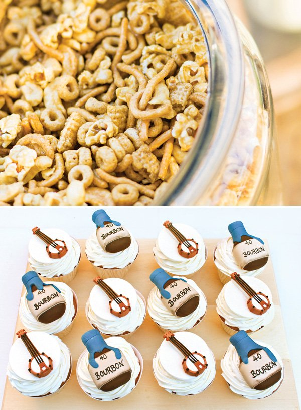 bourbon and banjo topped cupcakes