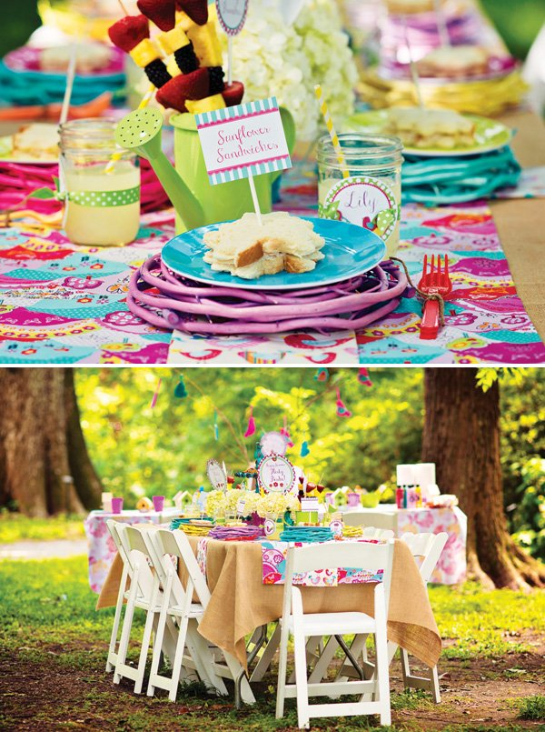 brightly colored bird tablescape with birds nest chargers