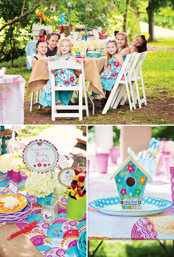 brightly colored outdoor forest bird party