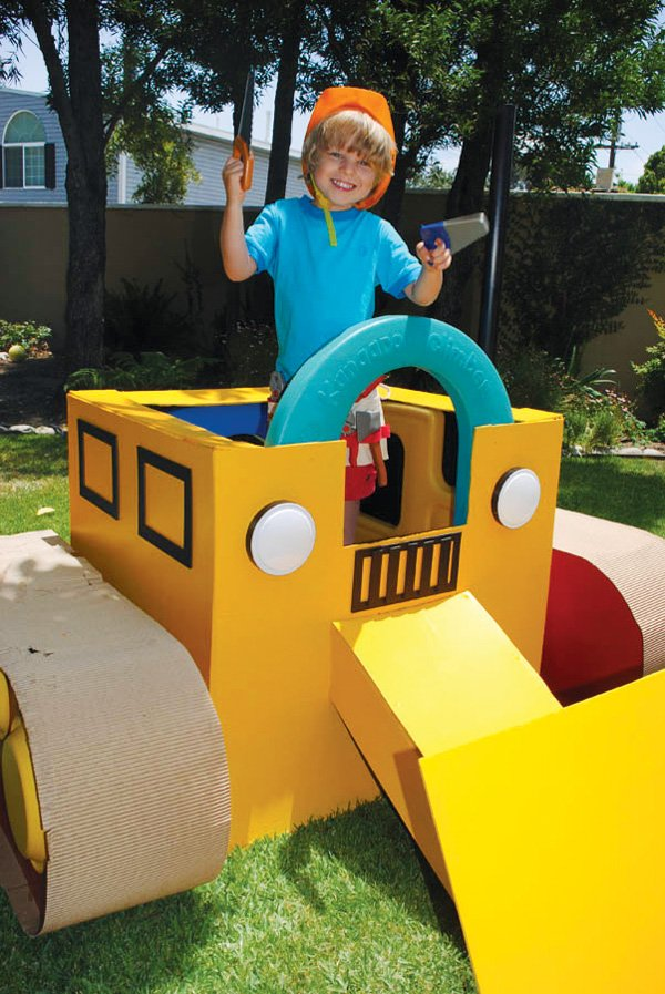 cardboard kids play bulldozer