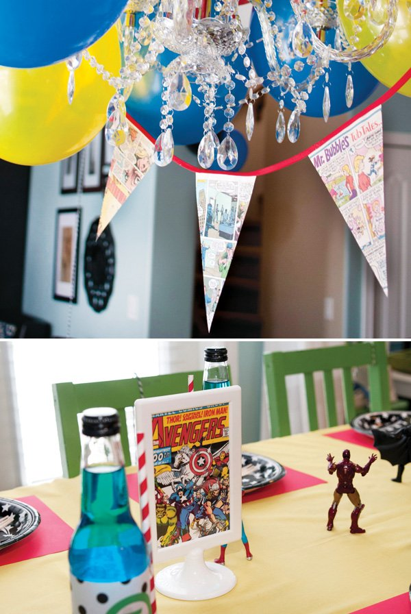 comic book party decor bunting and tablescape