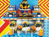 blue, yellow and red construction party dessert table