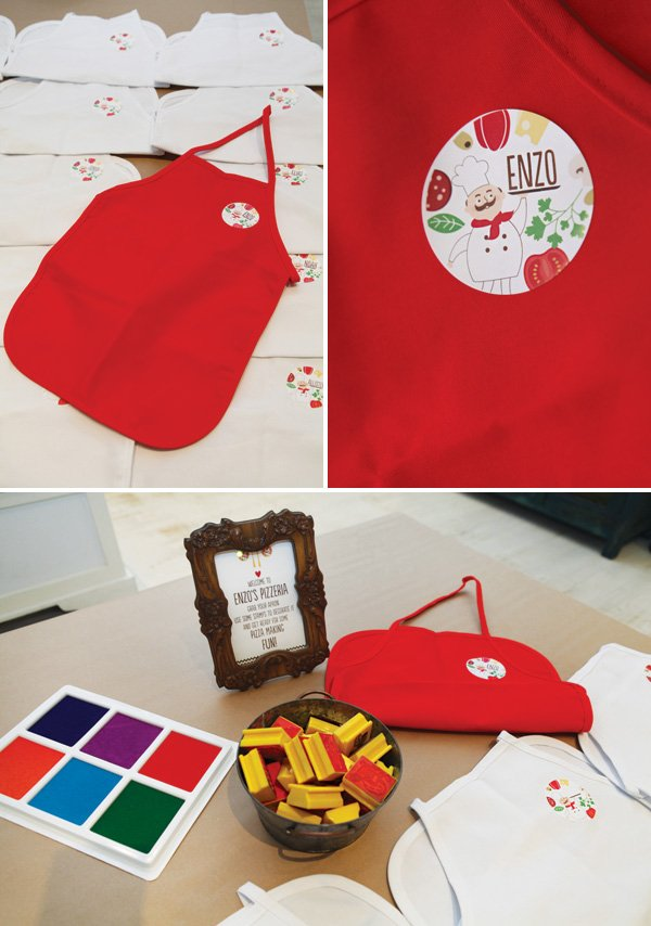 decorate your own chef's apron at a pizza party