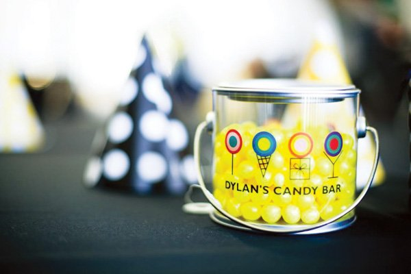 dylan's candy bar pail with yellow candies for a birthday party