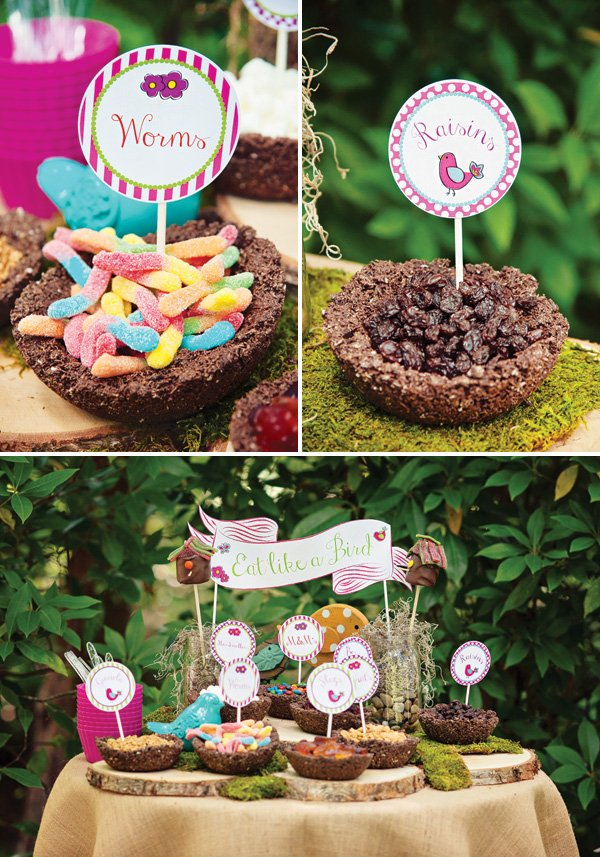 edible chocolate and shredded wheat birds nests filled with candy and snacks