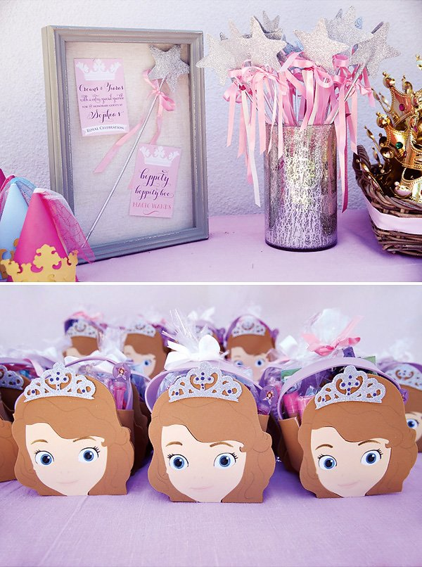sofia the first party favor bags and princess wands