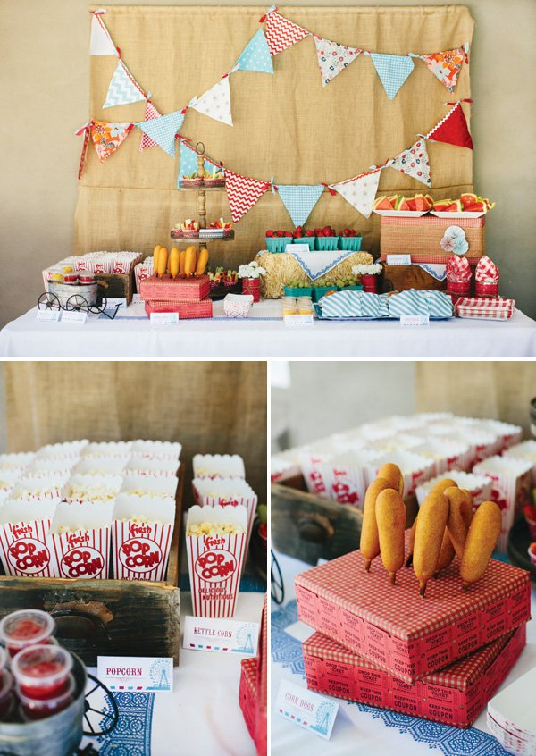 Amazing rustic vintage county fair first birthday for Backyard party decoration crossword