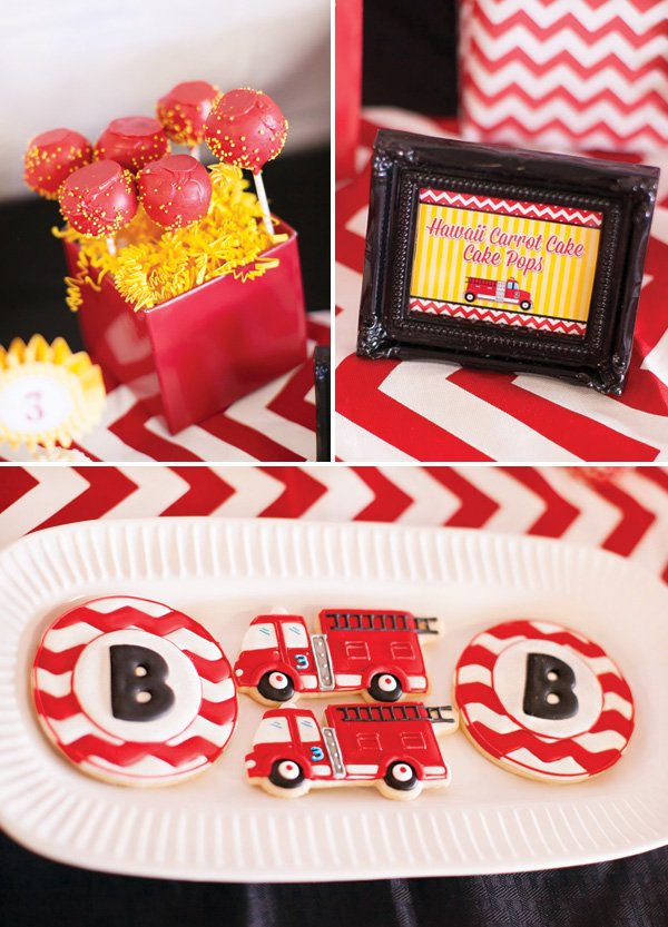 chevron and fire truck cookies and red and yellow carrot cake cake pops