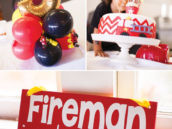 fireman in training sign and mylar balloons