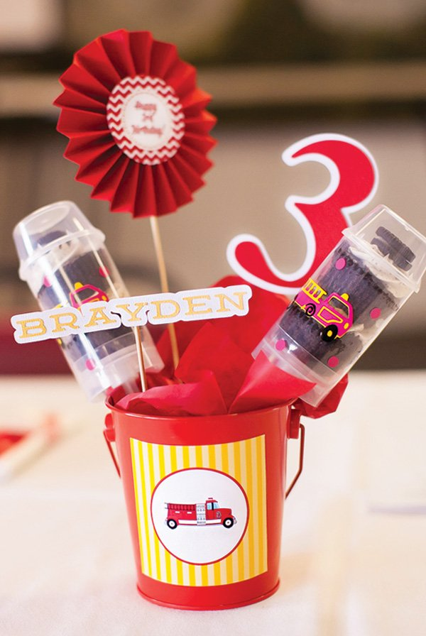 fire truck push up pop and printable cut out centerpieces
