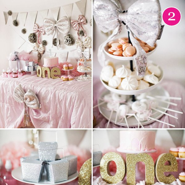 girly pink and glitter fist birthday