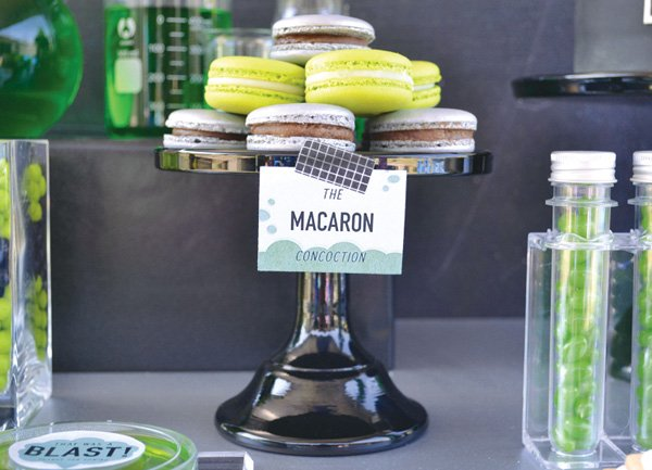 green and black macarons for a boy's birthday party