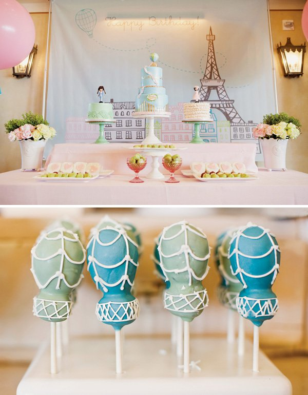 hot air balloon cake pops and parisian dessert table