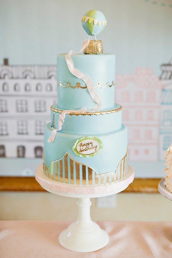 hot air balloon and paris eiffel tower cake
