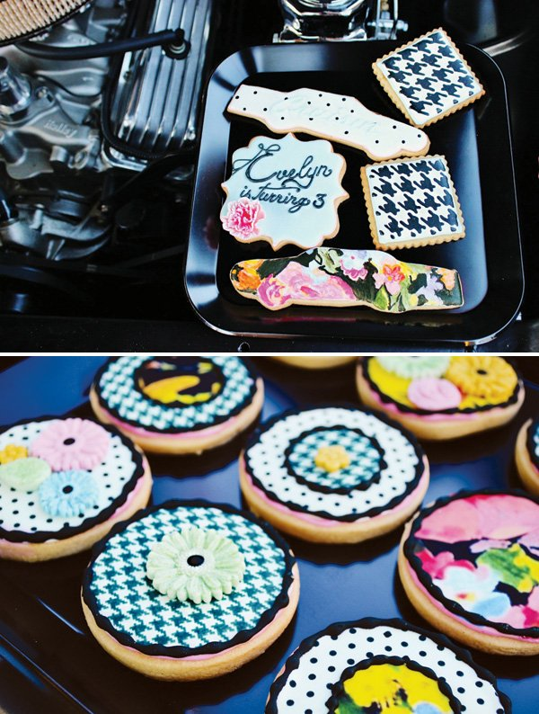 houndstooth and floral sugar cookies