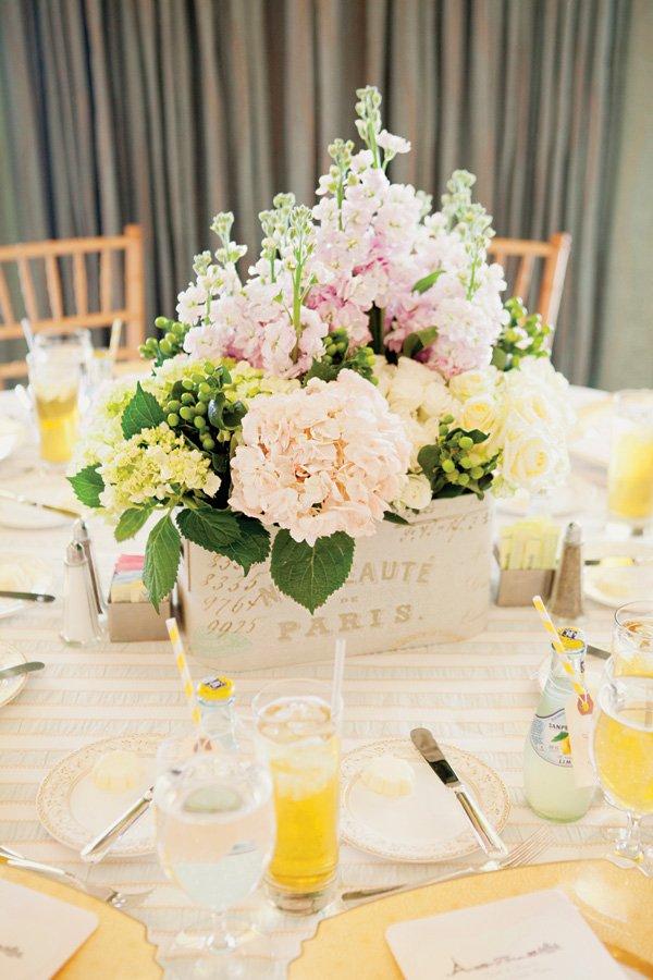 parisian party hydrangea flower centerpiece