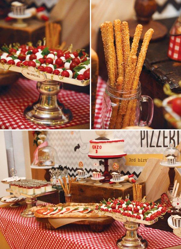 caprese salad platter and breadsticks