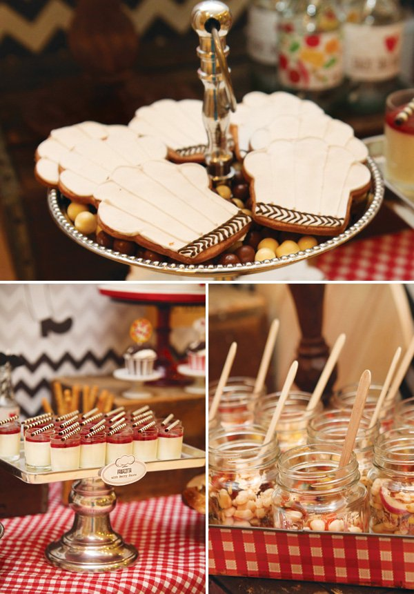 chef's hat cookies, italian panna cotta and other party foods
