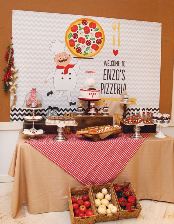 italian style pizza and food dessert table